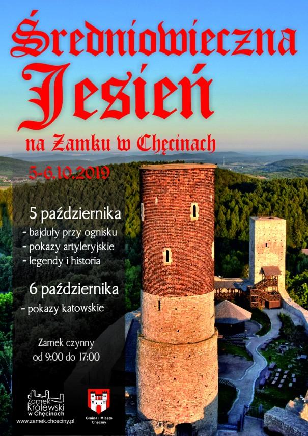 plakat sredniowieczna jesien zamek checiny